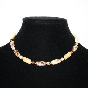 Vintage natural stone necklace 16""